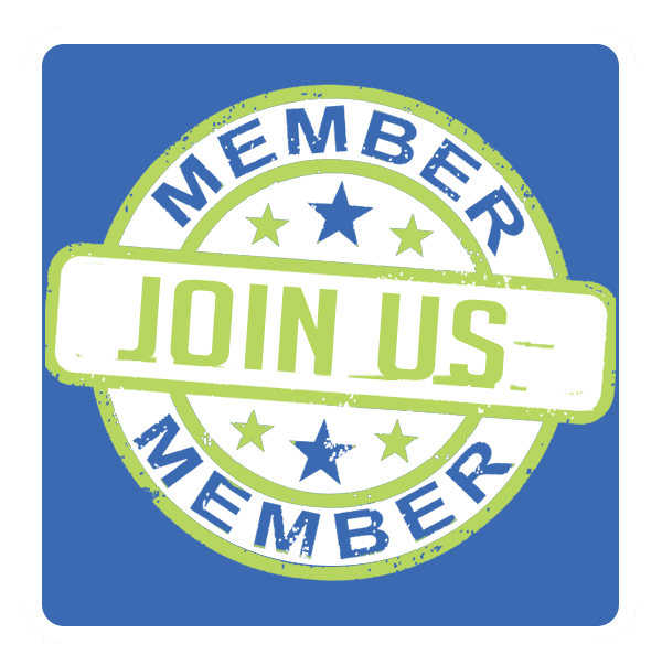 Logo reads Joins Us in lime green with Member in blue above and below