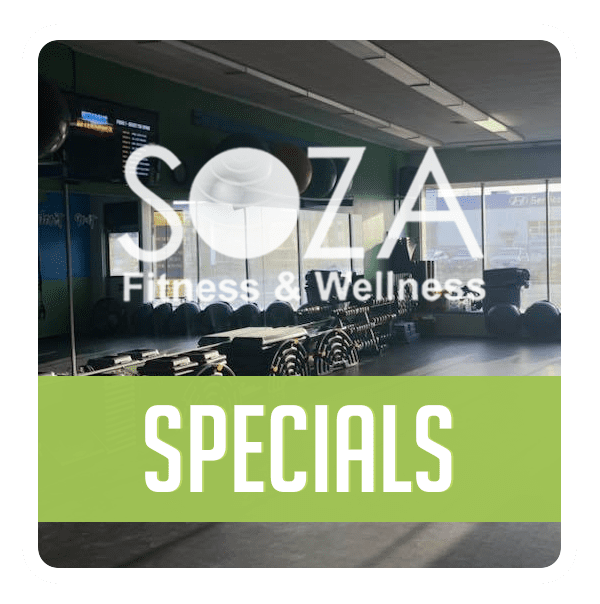 SOZA Fitness and Wellness logo with fitness room background, a green bar that says Specials stretches across the lower third of the image.